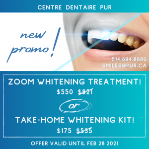 whitening promotion (zoom treatment for $550)